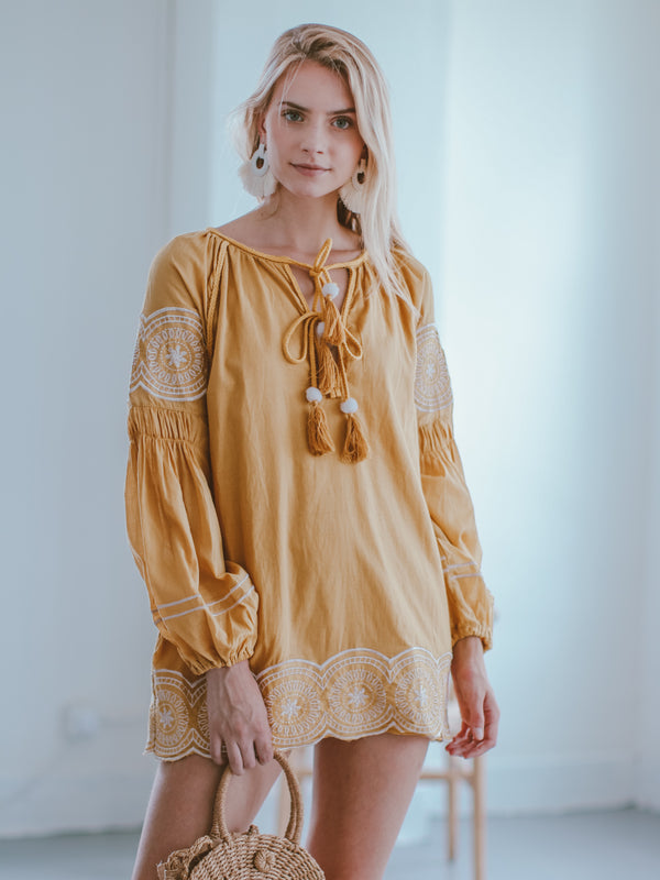Goodnight Macaroon 'Matilda' Embroidered Tassels Boho Mini Dress Model Front Half Body