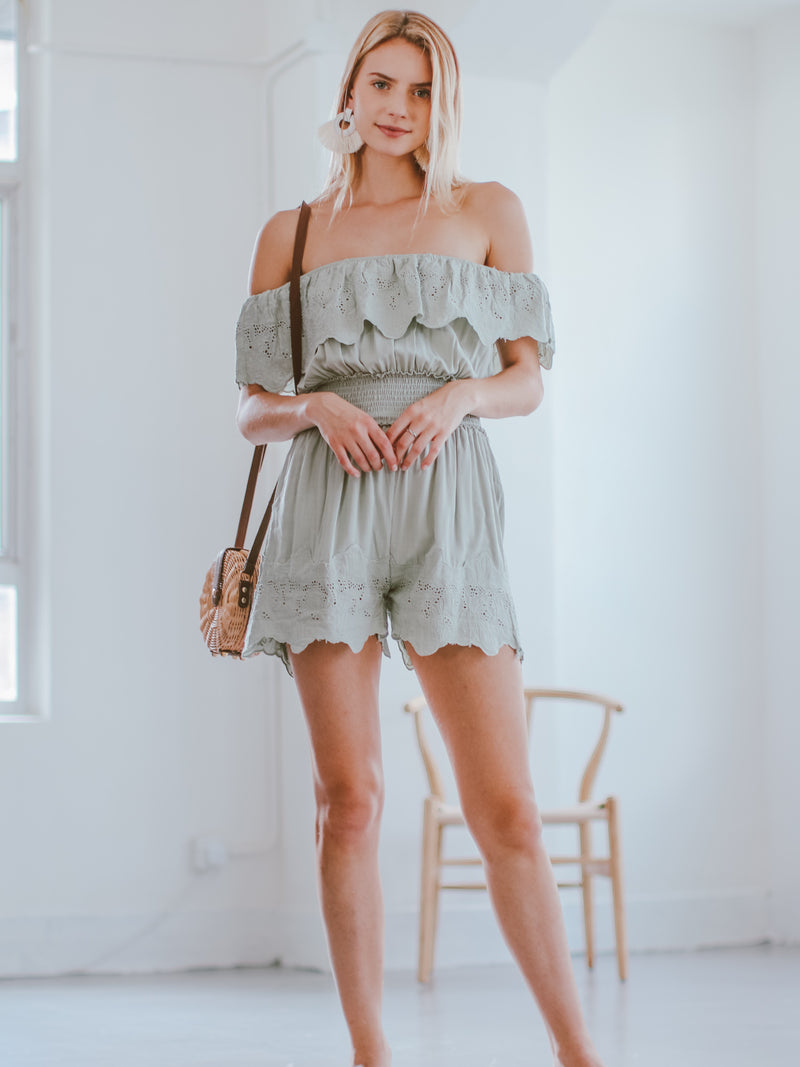 Goodnight Macaroon 'Narcisa' Ruffle Eyelet Off The Shoulder Romper Model Front Full Body