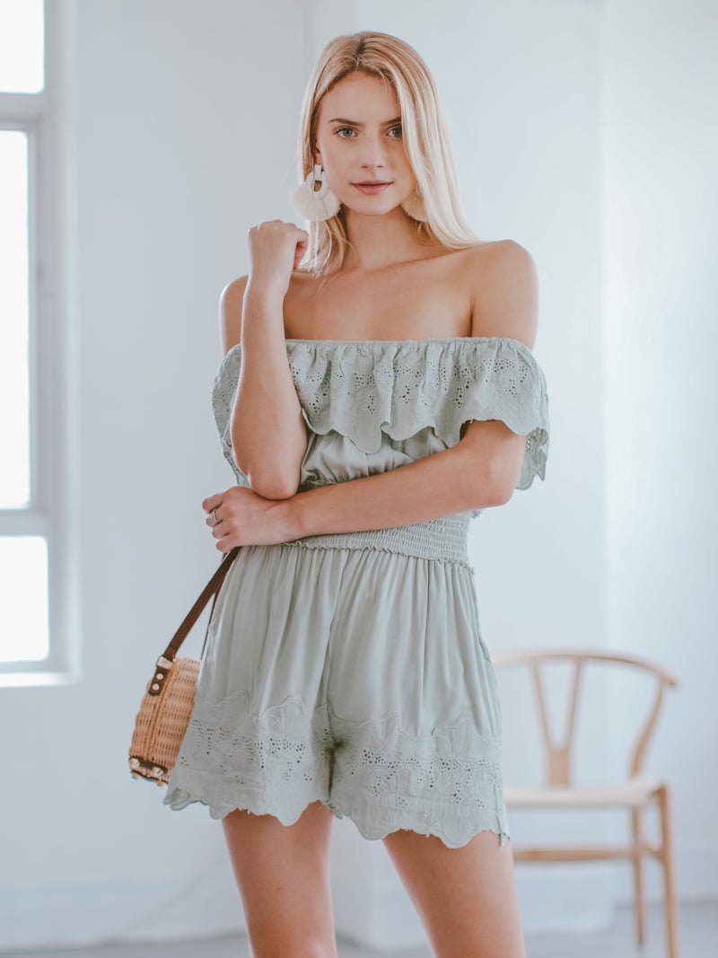 Goodnight Macaroon 'Narcisa' Ruffle Eyelet Off The Shoulder Romper Model Front Half Body
