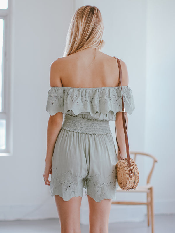Goodnight Macaroon 'Narcisa' Ruffle Eyelet Off The Shoulder Romper Model Back Half Body