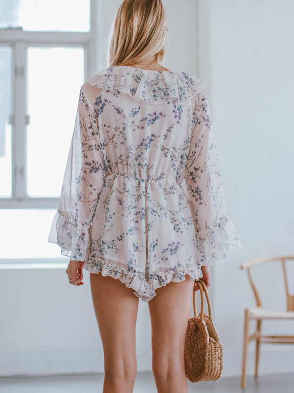 Goodnight Macaroon 'Florence' Ruffle Floral Sheer Romper Model Back Half Body