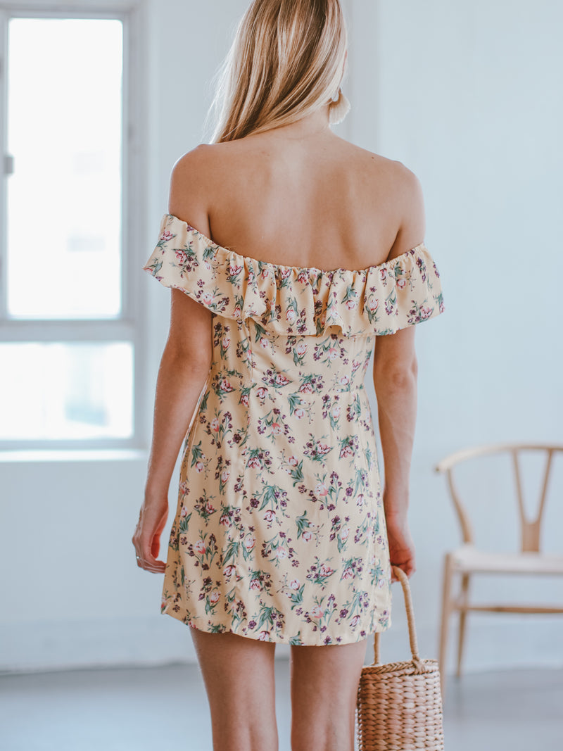 Goodnight Macaroon 'Michelle' Floral Off The Shoulder Ruffle Mini Dress Model Back Half Body