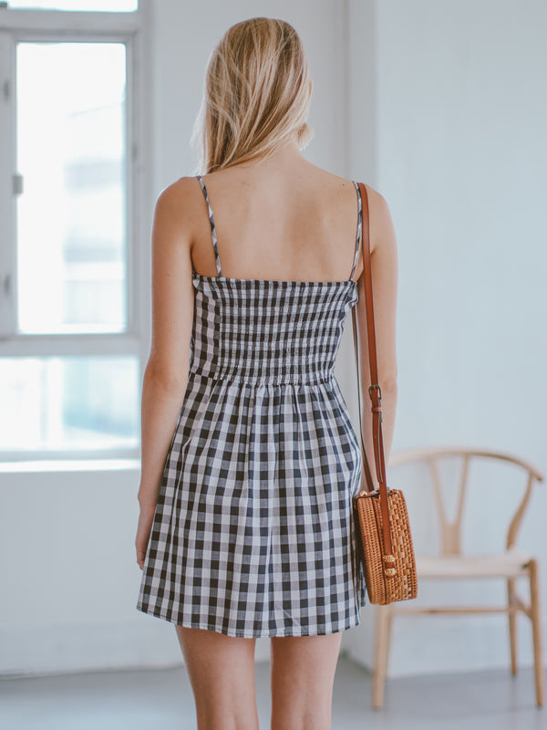 Goodnight Macaroon 'Karry' Blue Gingham Bow Mini Dress Model Back Half Body