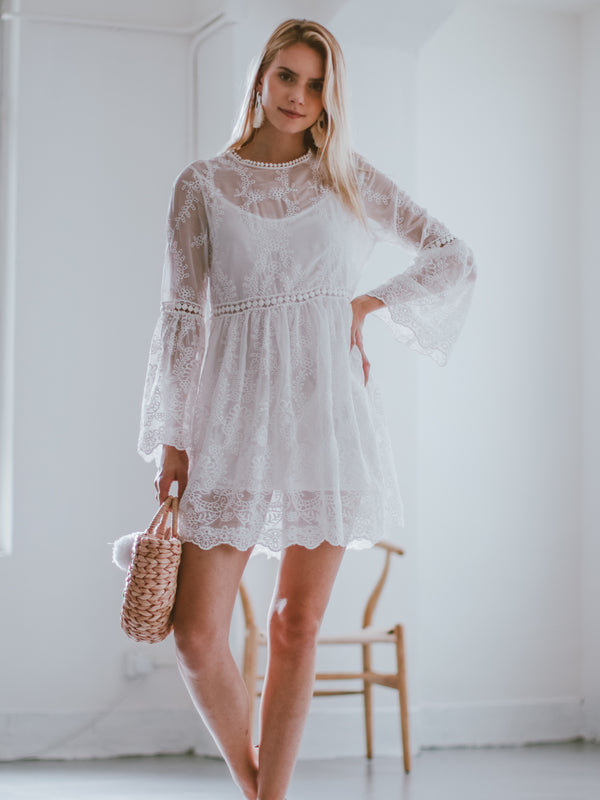 Goodnight Macaroon 'Claretha' Embroidered Lace Crochet Mini Dress Model Front Half Body