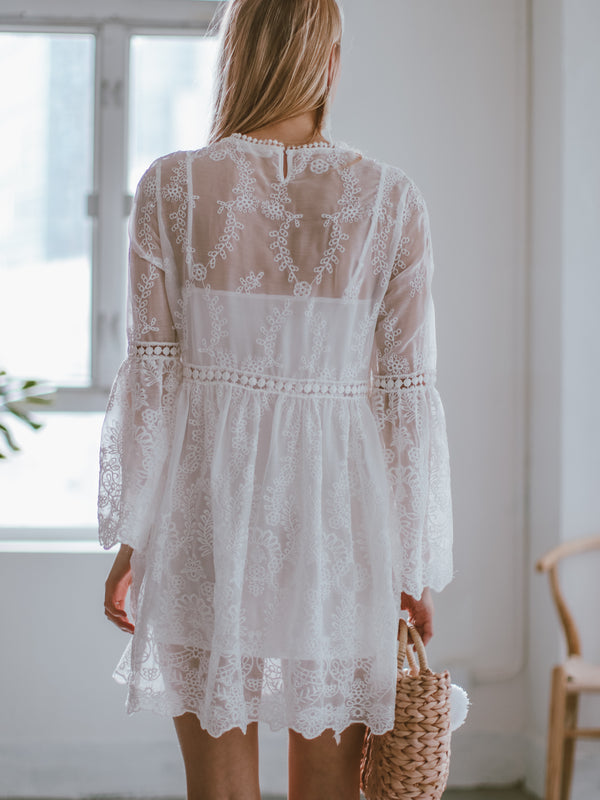 Goodnight Macaroon 'Claretha' Embroidered Lace Crochet Mini Dress Model Back Half Body
