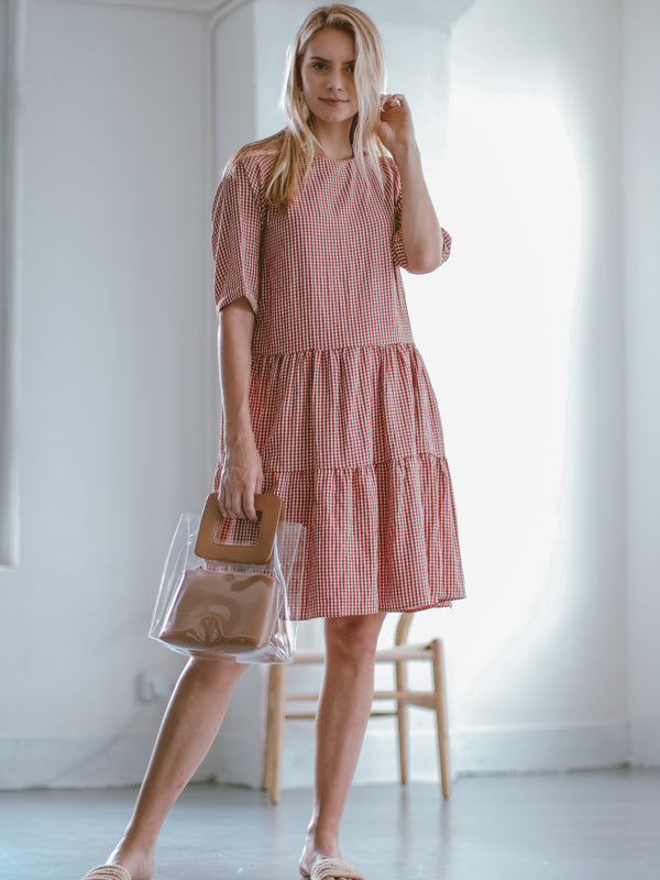 Goodnight Macaroon 'Marin' Gingham Oversized Midi Dress Model Front Full Body