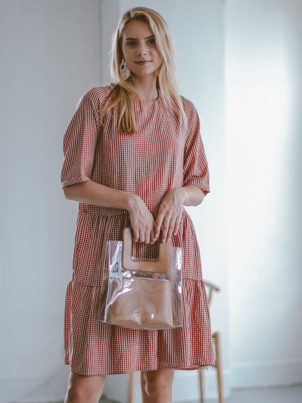 Goodnight Macaroon 'Marin' Gingham Oversized Midi Dress Model Front Half Body