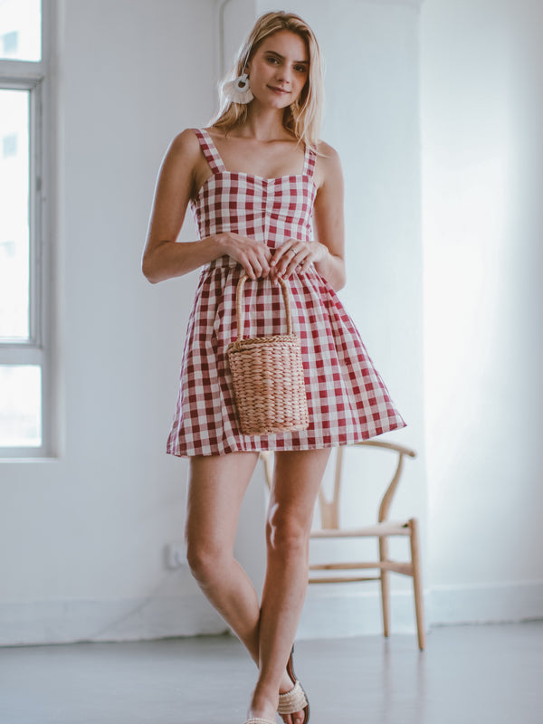 Goodnight Macaroon 'Karena' Red Gingham Mini Dress Model Front Full Body 1