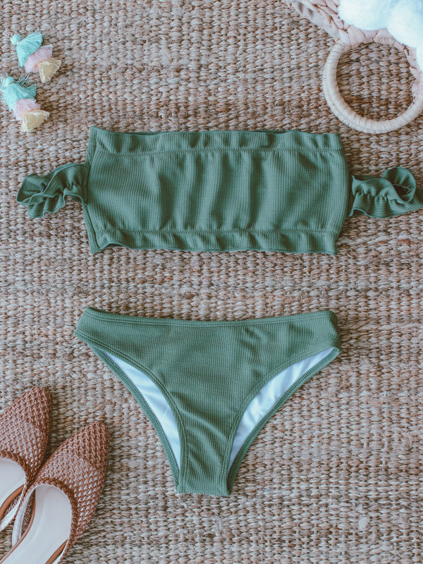 'Abena' Olive Green Cold Shoulder Bikini