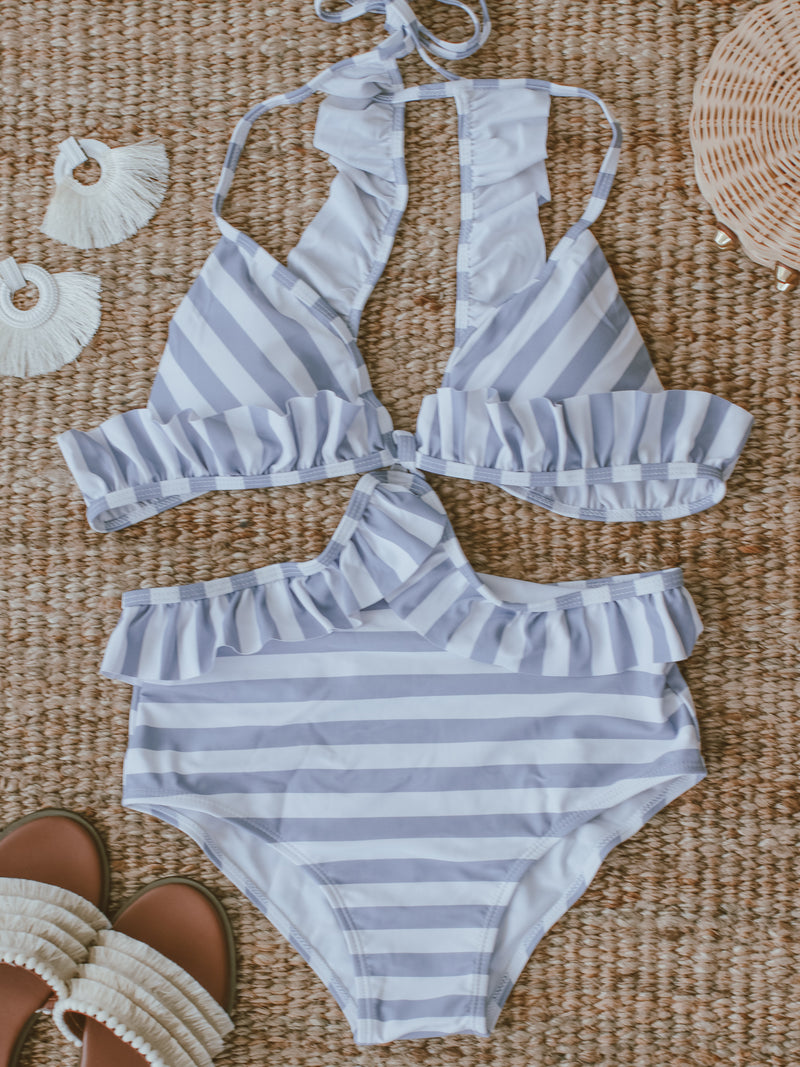 'Rhonny' Ruffle Striped Cut-out Bathing Suit