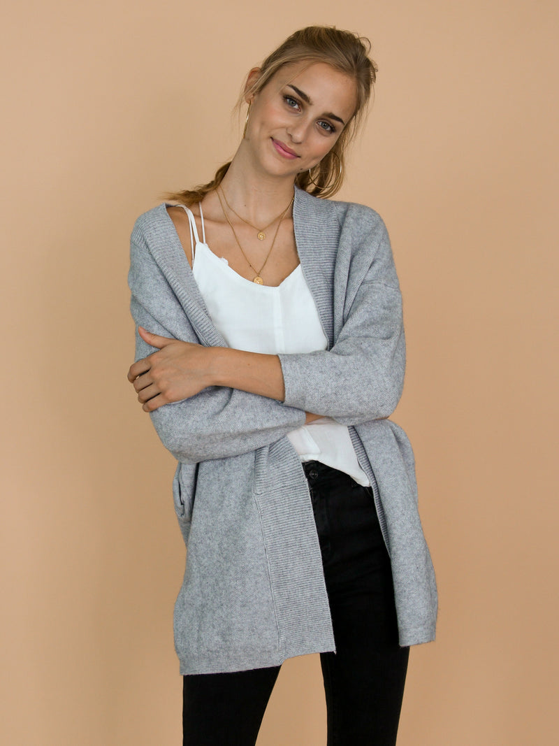 Goodnight Macaroon 'Colly' Grey Ribbed Open Cardigan Model Front Half Body 2