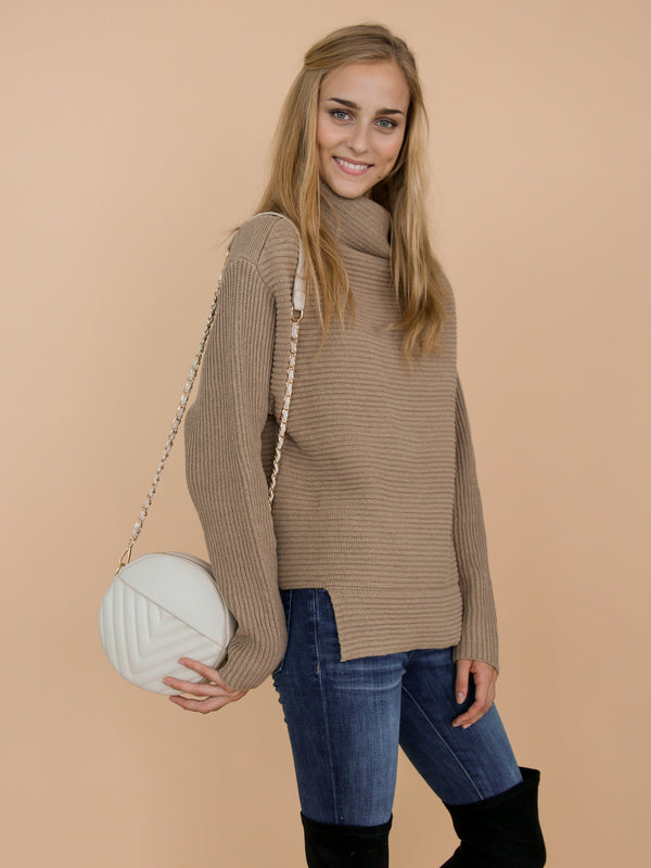 Goodnight Macaroon 'Susan' Khaki Ribbed Funnel Neck Asymmetric Hem Sweater Model Side Half Body