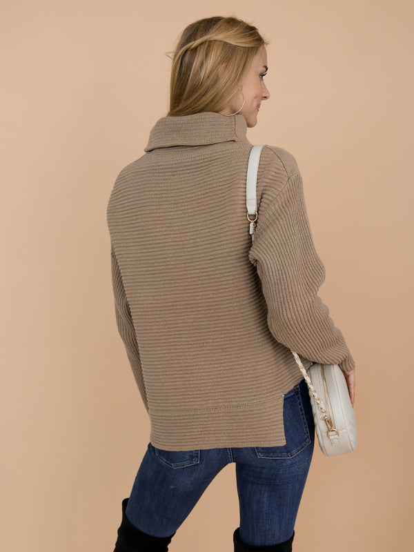 Goodnight Macaroon 'Susan' Khaki Ribbed Funnel Neck Asymmetric Hem Sweater Model Back Half Body