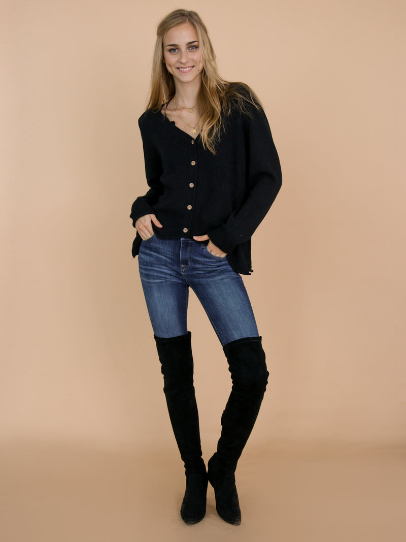 Goodnight Macaroon 'Jacie' Black Buttoned Distressed Cardigan Front Full Body