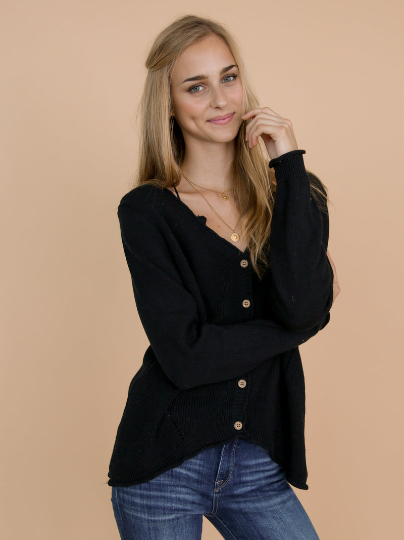 Goodnight Macaroon 'Jacie' Black Buttoned Distressed Cardigan Side Half Body