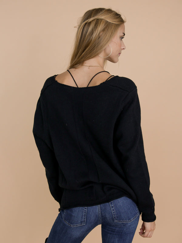 Goodnight Macaroon 'Jacie' Black Buttoned Distressed Cardigan Back Half Body