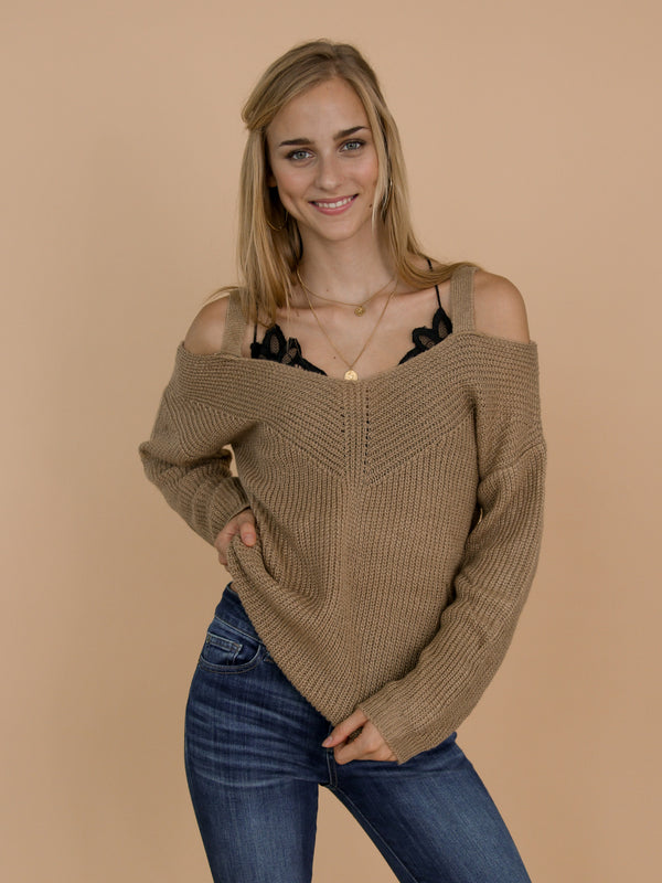 Goodnight Macaroon 'Tweety' Camel Cut-Out Shoulder Sweater Model Front Half Body