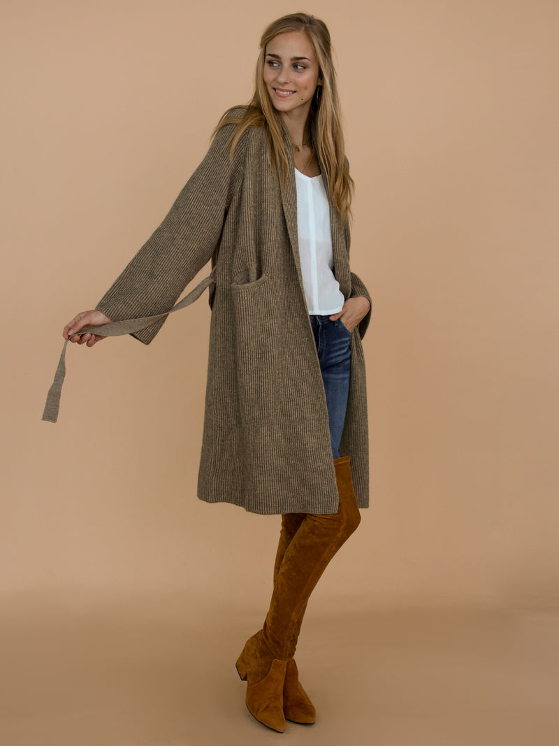 Goodnight Macaroon 'Daphne' Olive Green Grey Ribbed Belted Open Long Cardigan Model Side Full Body