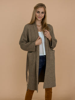 Goodnight Macaroon 'Daphne' Olive Green Grey Ribbed Belted Open Long Cardigan Model Front Half Body