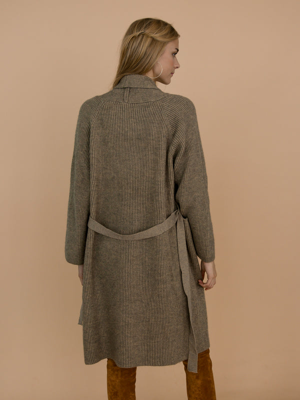 Goodnight Macaroon 'Daphne' Olive Green Grey Ribbed Belted Open Long Cardigan Model Back Half Body