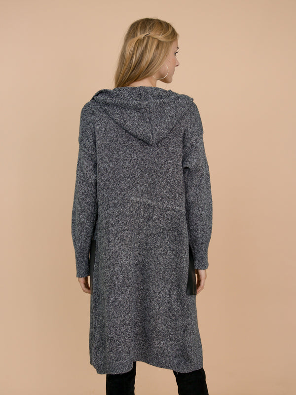 Goodnight Macaroon 'Kady' Knitted Hooded Long Cardigan Model Back Half Body