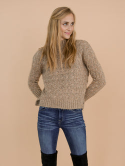 Goodnight Macaroon 'Tess' Khaki Confetti Cable Knit Funnel Neck Sweater Model Front Half Body