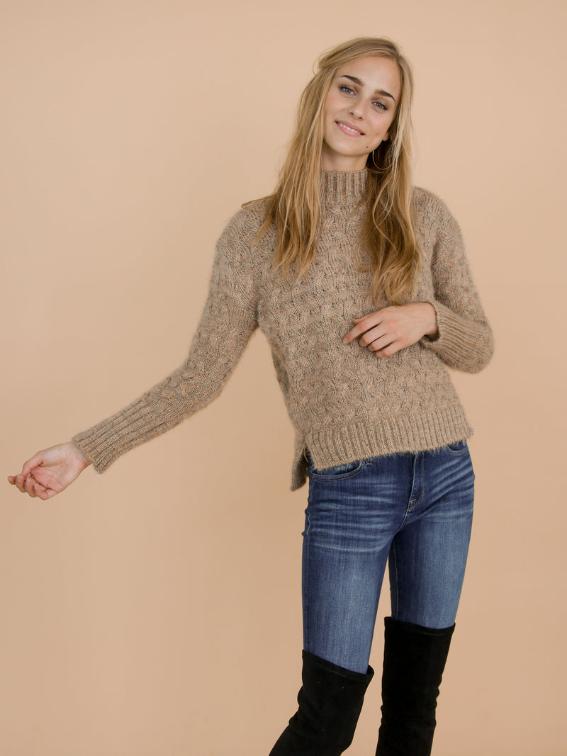 Goodnight Macaroon 'Tess' Khaki Confetti Cable Knit Funnel Neck Sweater Model Side Half Body