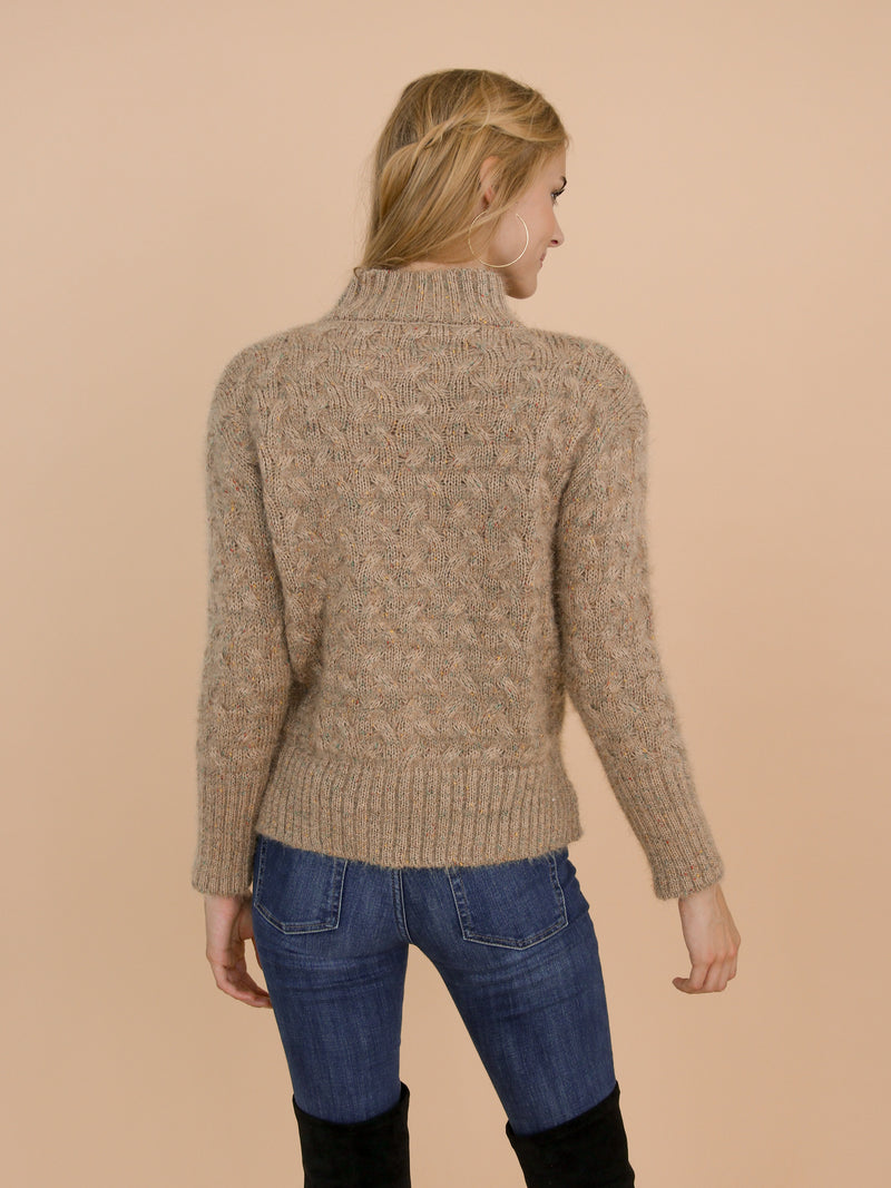 Goodnight Macaroon 'Tess' Khaki Confetti Cable Knit Funnel Neck Sweater Model Back Half Body