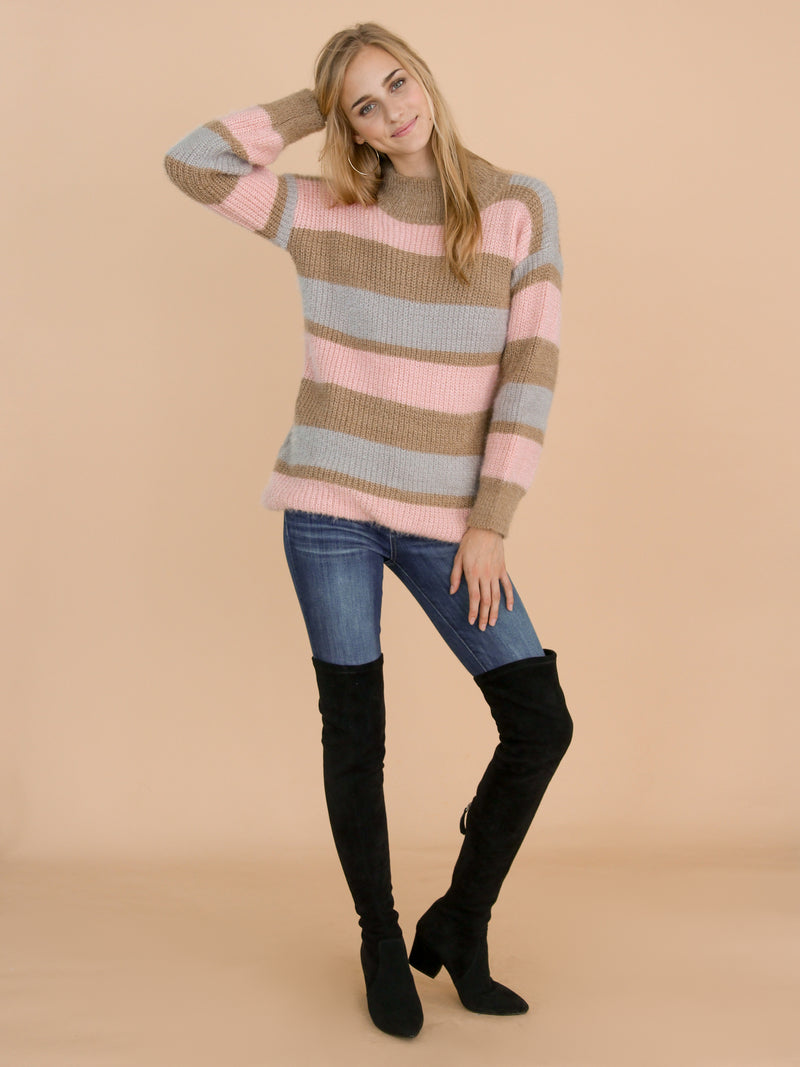 Goodnight Macaroon 'Daria' Pink Color Block Fluffy Sweater Model Front Full