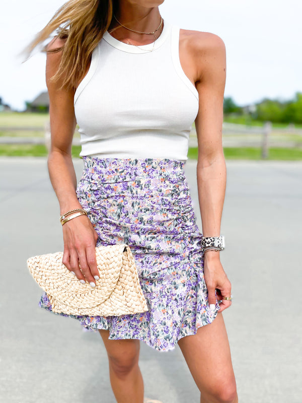 'Mackenzie' Floral Printed Ruched Mini Skirt (3 Colors)