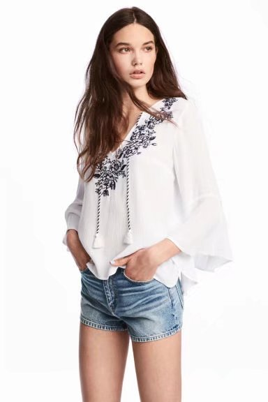 'Julissa' White Embroidered Tassels Flare Top