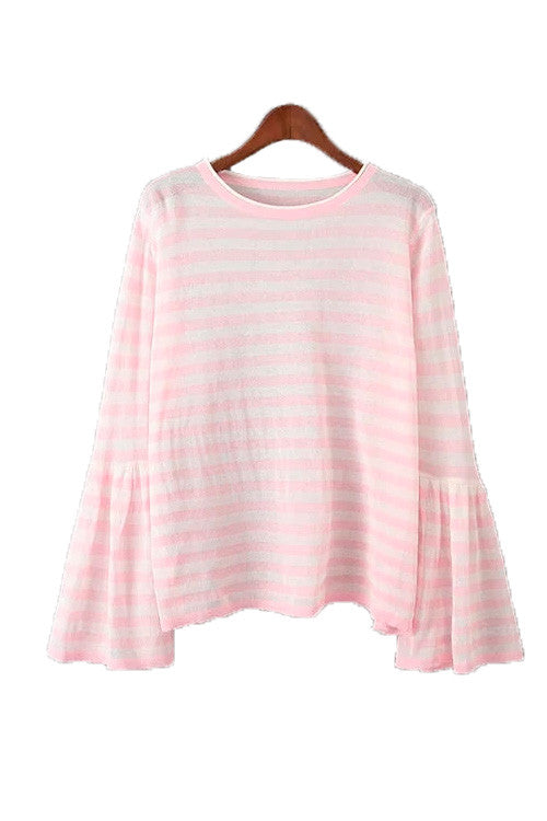 'June' Striped Bell Sleeved Top