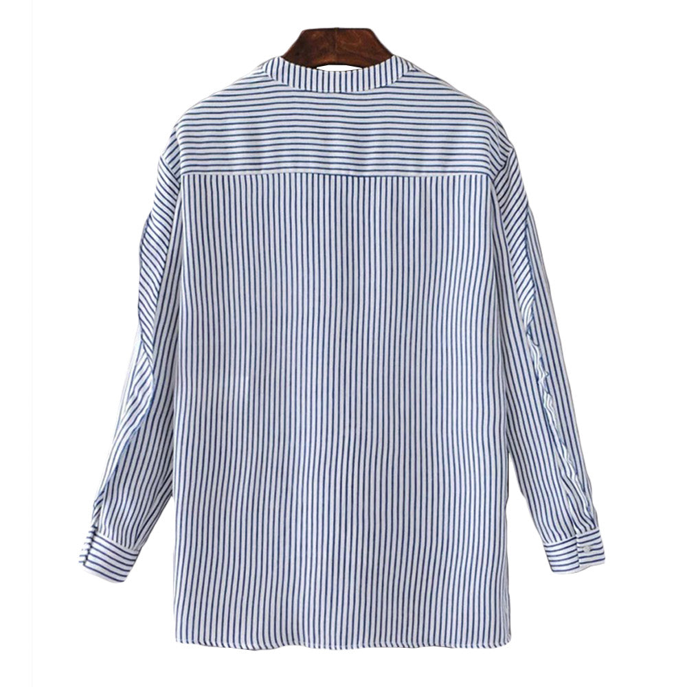 'Liz' Striped Mock Shirt - Goodnight Macaroon