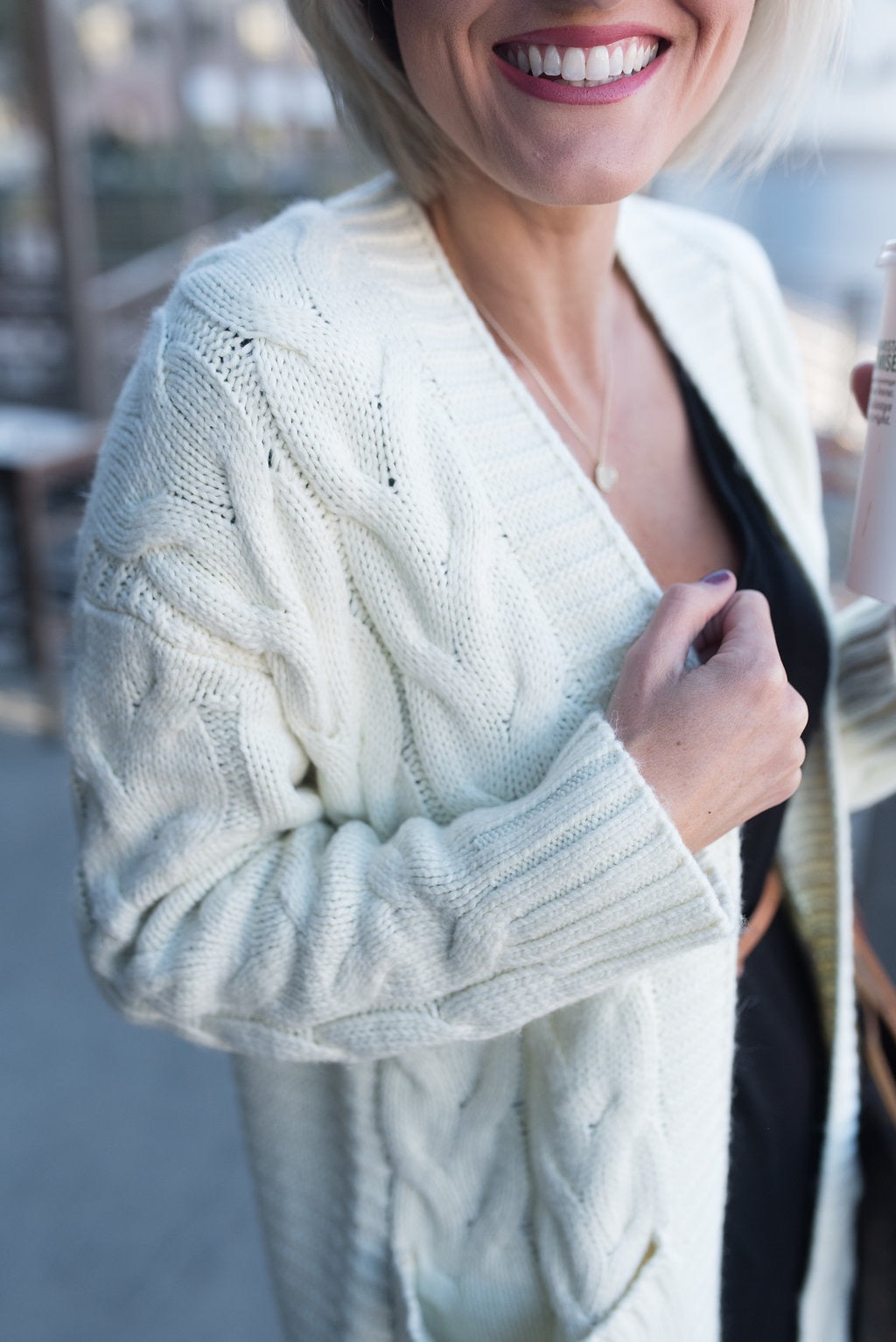 'Jasmine' Chunky Cable Knit Open Cardigan by Loverly Grey