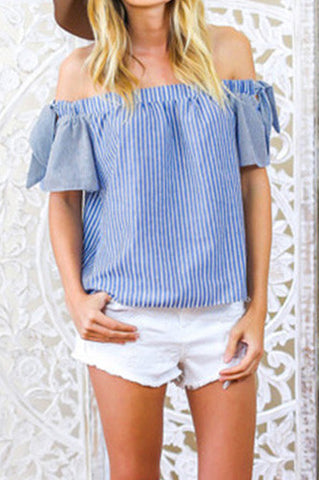 'Katherine' Off Shoulder Pinstripe Top