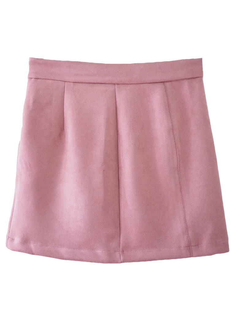 'Holly' Pink Suede Short Skirt