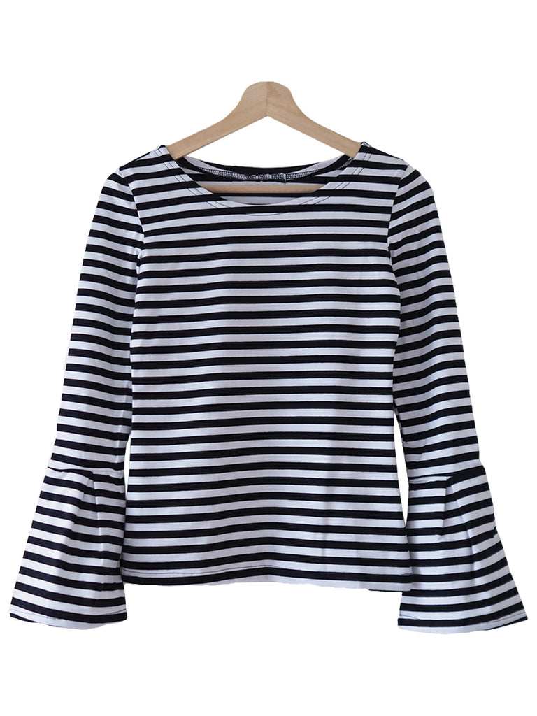 'Lona' Black Striped Long Flare Sleeve Top