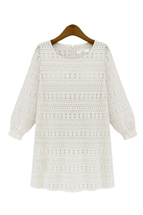 Cream White Crochet Lace Bohemian Mini Dress - Goodnight Macaroon
