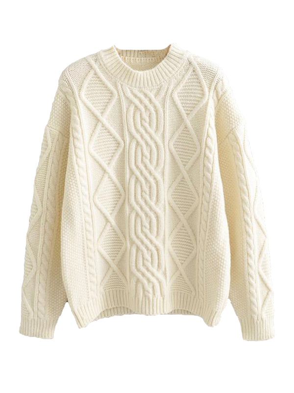 'Kim' Crewneck Cable Knit Sweater (3 Colors)