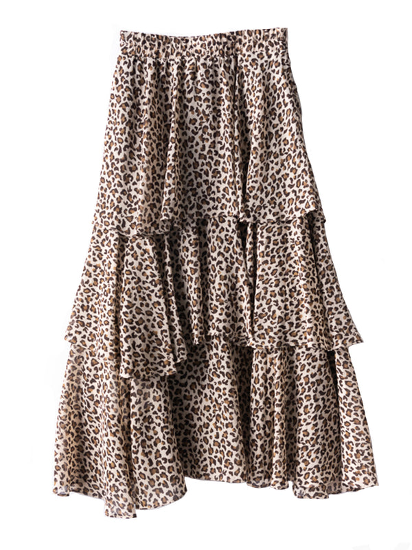 'Cheryl' Leopard Print Tiered Midi Skirt (3 Colors)