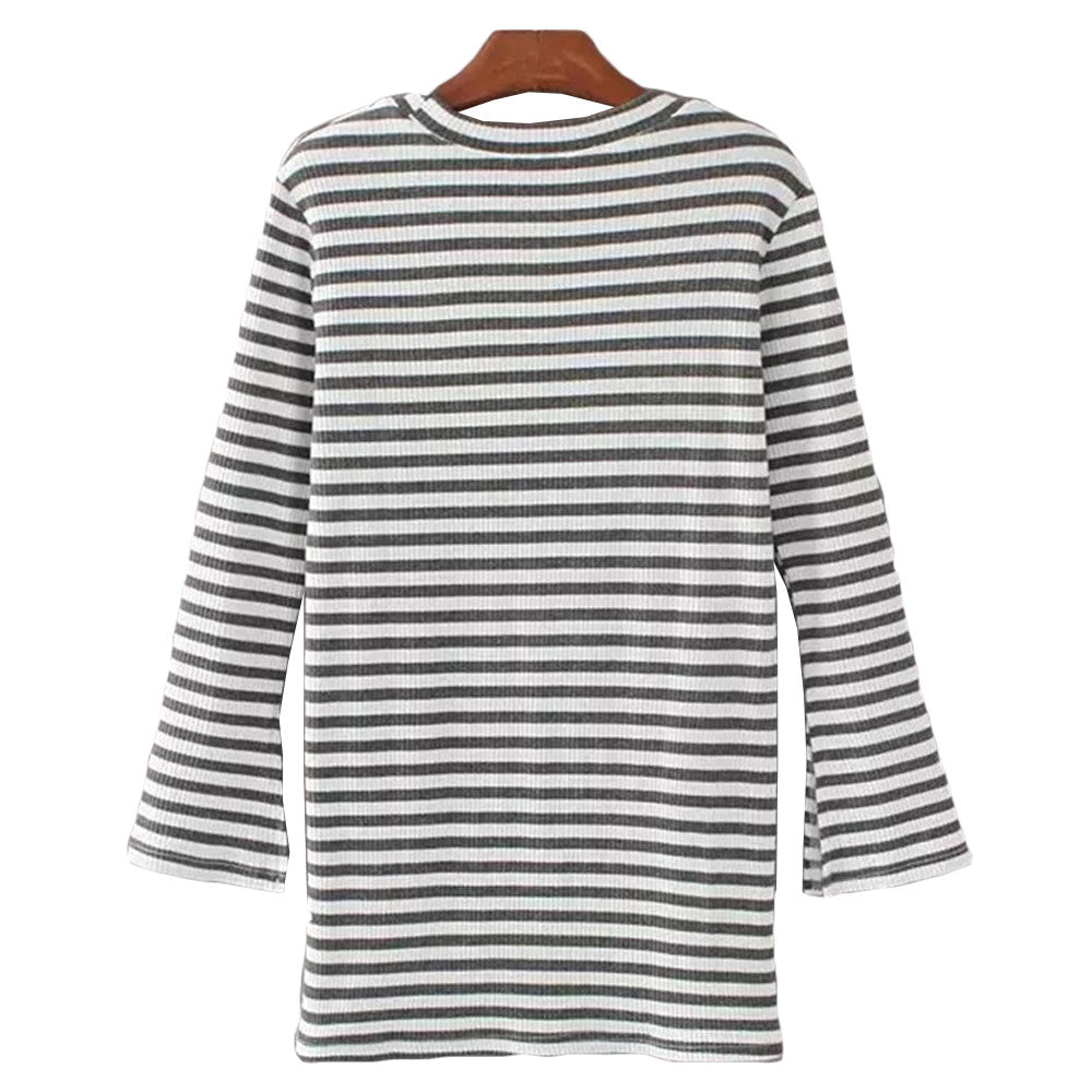 'Portia' Striped Crewneck Jersey Ribbed Top