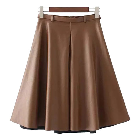 'Samia' Brown Leather Belted Flare Skirt