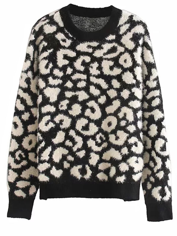 'Ella' Fluffy Leopard Print Crewneck Sweater (2 Colors)