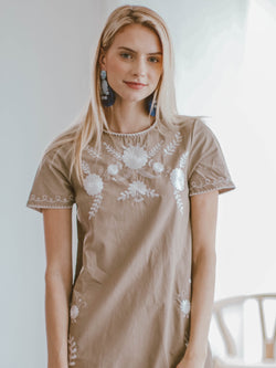 Goodnight Macaroon 'Savannah' Khaki Floral Embroidery Linen Mini Dress Model Front Half Body
