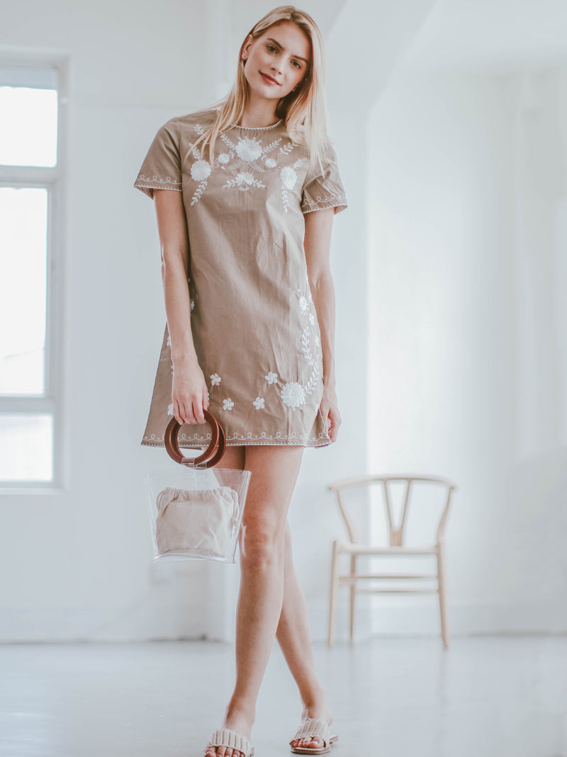 Goodnight Macaroon 'Savannah' Khaki Floral Embroidery Linen Mini Dress Model Front Full Body