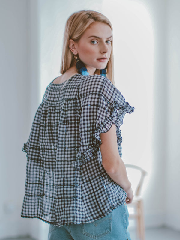 'Penny' Ruffle Blue Gingham Crewneck Sequin Top