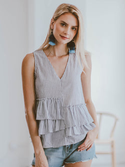 Goodnight Macaroon 'Naomi' Striped Asymmetric Ruffle Top Model Front