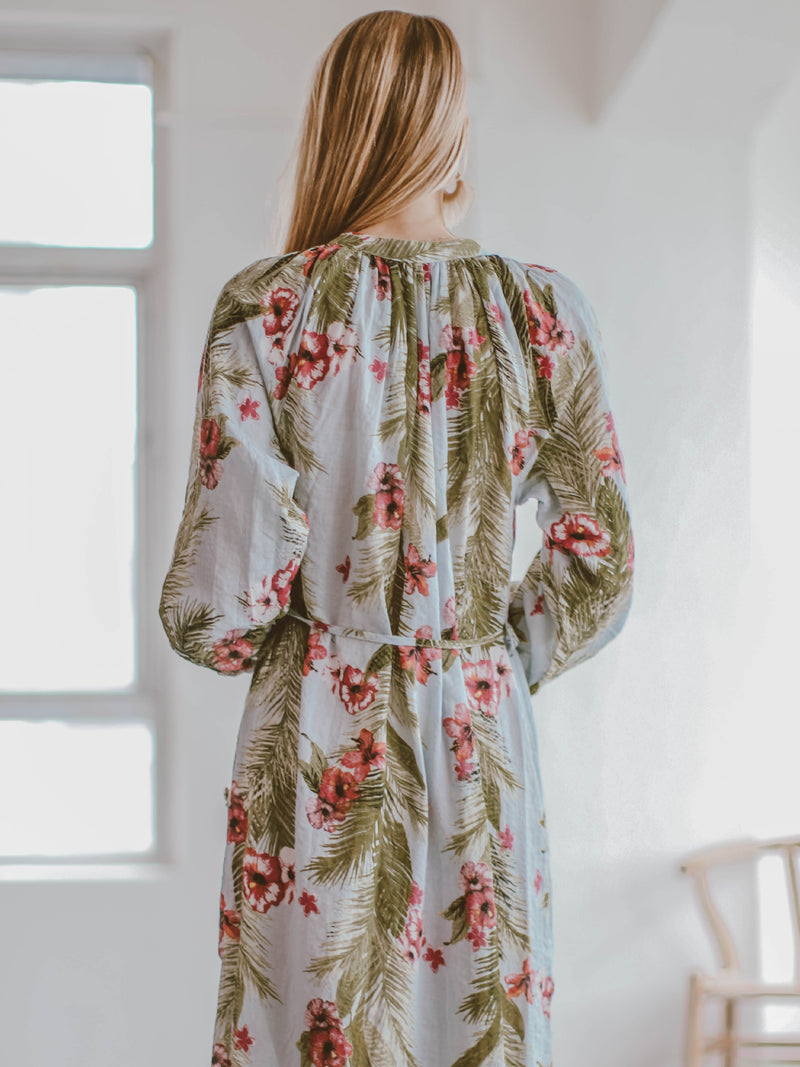 Goodnight Macaroon 'Evelyn' Tropical Floral Print Beach Cover-Up Model Back
