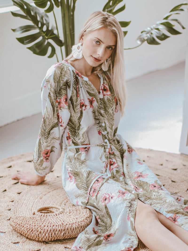 Goodnight Macaroon 'Evelyn' Tropical Floral Print Beach Cover-Up Model Side