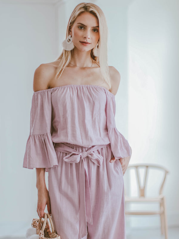 Goodnight Macaroon 'Brianna' Off The Shoulder Tied Front Jumpsuit Model Front